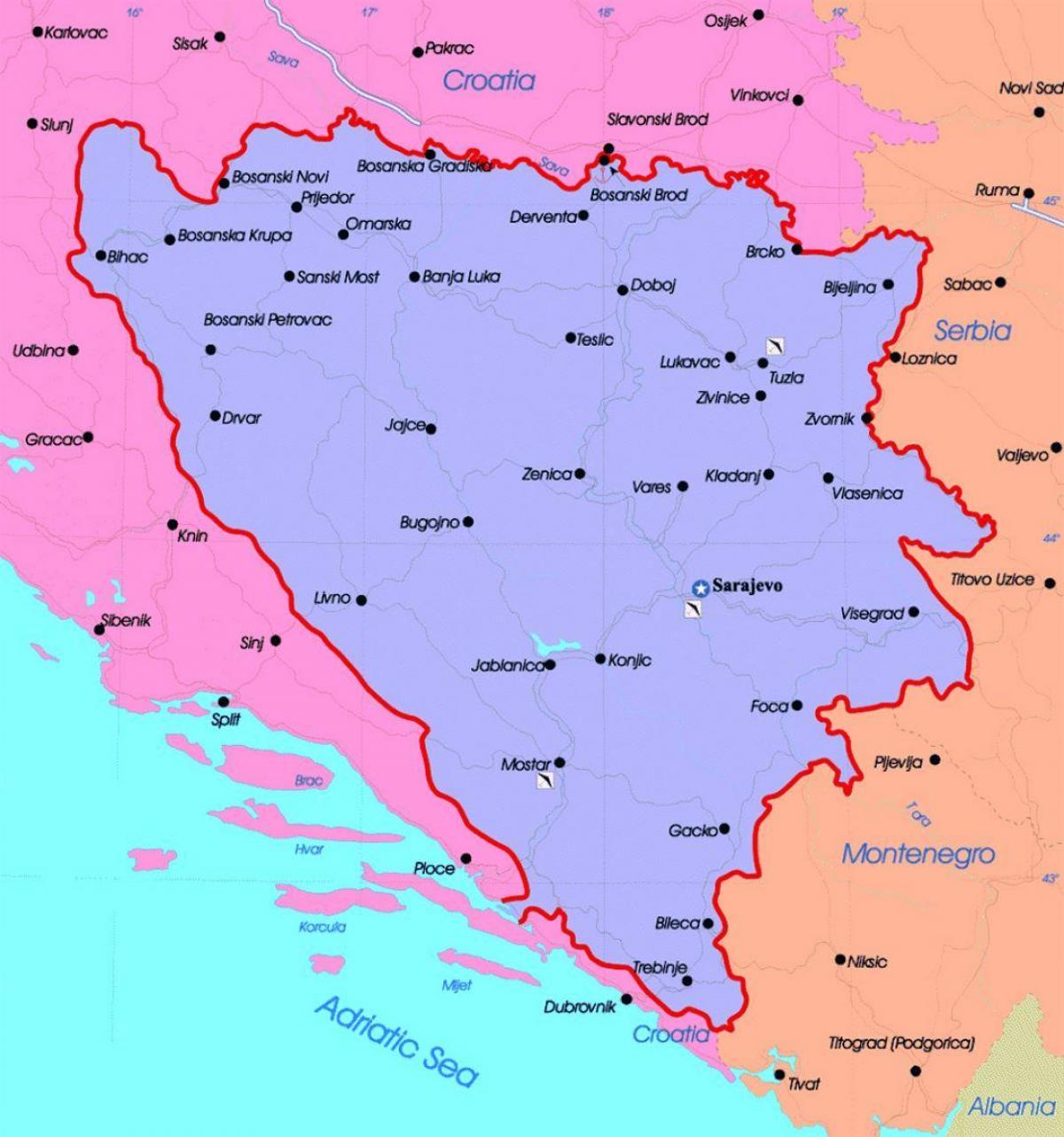 Karta Bosnien Och Hercegovina.Bosnien Politiska Kartan Bosnien Och Hercegovina Politiska Karta