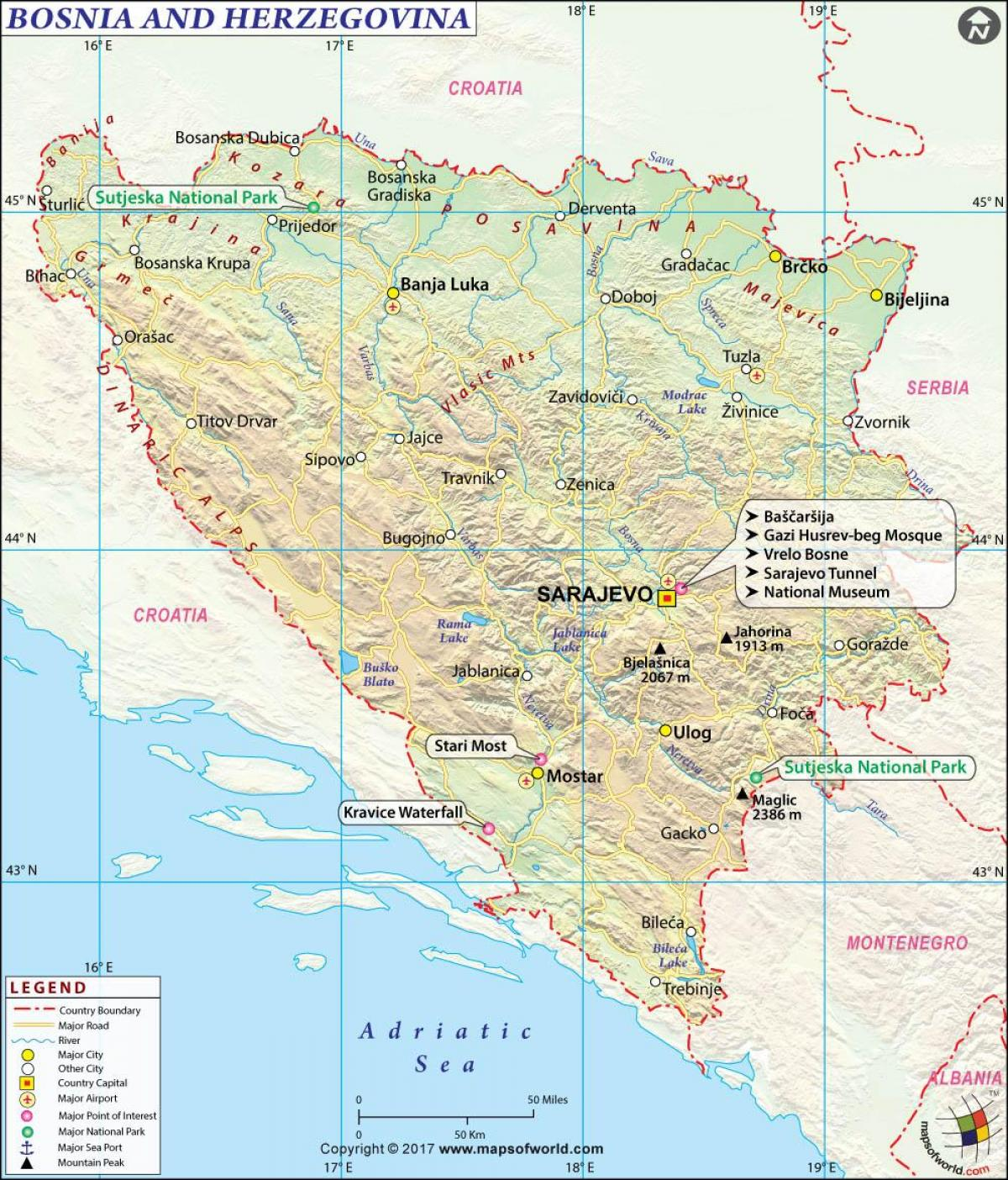 Karta Bosnien Och Hercegovina.Karta Over Bosnien Och Hercegovina Bosnien Hercegovina Karta Sodra