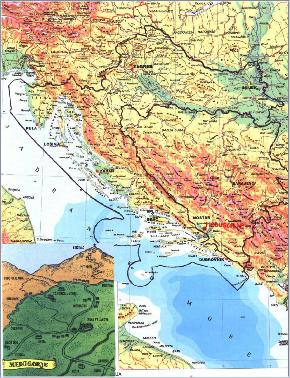 Karta Bosnien Och Hercegovina.Karta Over Medjugorje I Bosnien Karta Av Medjugorje I Bosnien