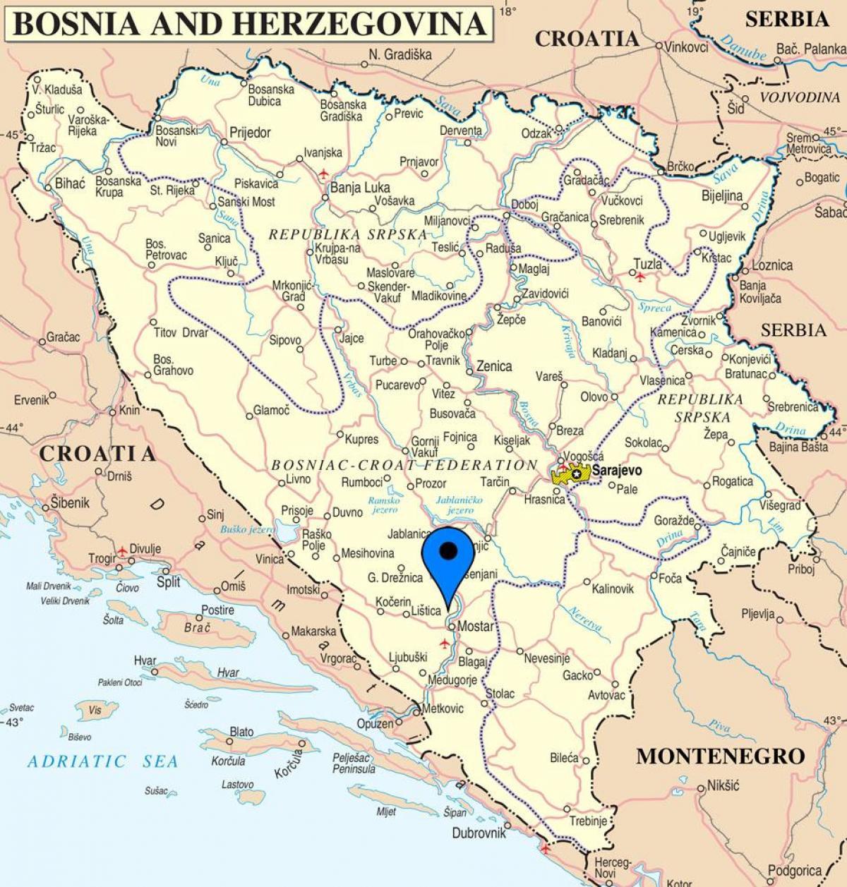 Karta Bosnien Och Hercegovina.Mostar I Bosnien Karta Karta Over Mostar Bosnien Och Hercegovina